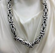 Mens Bali Byzantine Chain Necklace Round 925 Silver Sterling 196gr 9mm 20inch