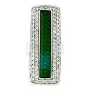 Gauthier 14k White Gold 9.64ctw Green Tourmaline And Diamond Long Cocktail Ring
