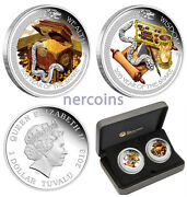Tuvalu 2013 Good Fortune Lunar Snake 2-coin Set Pure Silver Proof Color Perfect