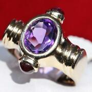 14k Yellow Gold Ring 2.00ct Russian Amethyst Size 5.5 Vintage Handmade 5.9gr