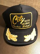 Auto Salvage Raleigh Nc Vintage Snapback Mesh Patch Trucker Cap Hat Usa Gold Blk
