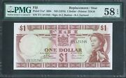 Fiji 1 P71a Nd1974 Pmg 58 Epq Very Scarce Replacement Note Z/1