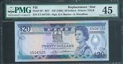 Fiji 20 P85 Nd1986 Pmg 45 Extra Fine Exceptionally Rare Replacement Note