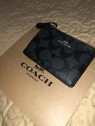 Women's Coach Mini Id Wallet With Keychain Monogram Black New With Tags