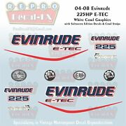 2004-08 Evinrude 225hp E-tec Wc Outboard 16pc Decals For White Cowl Saltwater