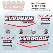 2004-08 Evinrude 250hp E-tec Bc Outboard 16pc Decals For Blue Cowl Saltwater