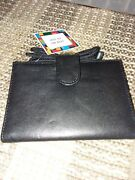 Black Leather Crossbody Travel Wallet With Adjustable Fabric Cord New Min 1 Case