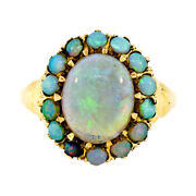 Antique Victorian 14k Yellow Gold Fine Oval Cabochon Opal Solitaire And Halo Ring