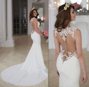 Sexy Mermaid Wedding Dresses Spring Lace White Ivory Bridal Gowns Size 6 8 10 12