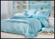 Christmas Sale Soft Blue Solid Satin Silk Polyester Comforter 1pc -180 Gsm/220