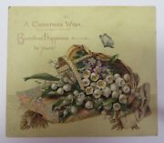 Vintage Antique 1881 L. Prang Victorian Christmas Card Lily Of The Valley Litho