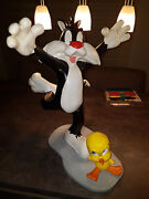 Extremely Rare Looney Tunes Sylvester Running After Tweety Big Figurine Statue
