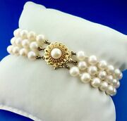 Classic 14k Yellow Gold Three Strand White Cultured Pearl Bracelet