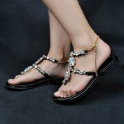 Fashion Womens Alluring Flats Flip Flops Rhinestones Faux Leather Shoes Sandals