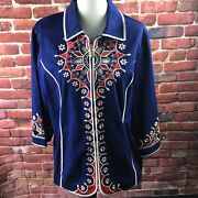 Bob Mackie Embroidered Front/back Blue/red Jacket Xl Euc A8093