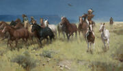 Z.s Liang Plunder Of Many Horses Limited Edition Canvas Art Native Aboriginal