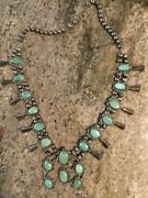 1970s Vintage Green Turquoise Squash Blossom With Naja