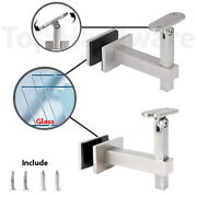 Glass Mount Adjustable Satin Or Mirror Handrail Bracket For Square Top Railing