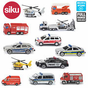 Siku Miniature Scale 164 To 187 Diecast Model Emergency Police Fire Engines