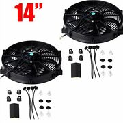 2x 14and039and039 Slim Fan Push Pull Electric Radiator Cooling 12v Universal Kit Black New