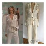 Valentino Runway Sexy Sheer Sequin Top And Embellished Waist Pants Ss/2003 2 Pcs