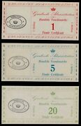 Greenland 1 5 20 Skilling M8 9 10 Set 1942 Denmark Trade Unc Currency Money Note