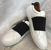 Givenchy Leather Low Top Shoe White /black Elastic Top Strap Size 39