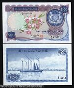 Singapore 100 Dollars P-6 1973 Orchid Serie Unc Rare 1st Issue Sailing Ship Note