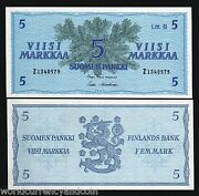 Finland 5 Markkaa P106 A 1963 Pre Euro Conifer Unc Z Prefix Finnish Bank Note