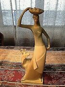 Vintage Lladro Handmade Spain Woman With Goat Carrying Plate With Fruits 15.5 T