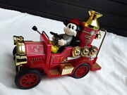 Extremely Rare Walt Disney Mickey Mouse In Fire Truck Old Toy Car