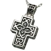 Cross Antique Ash Holder Cremation Urn Pendant Necklace Jewelry Sterling Silver