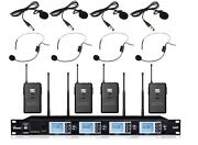 Uhf Wireless Microphone System With 4 Headset 4 Lavalier Lapel Mics Presentation