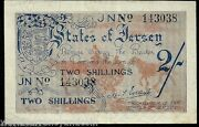 Jersey Germany 2 Shillings P3a 1942 Wwii German Occ Euro Lion Aunc Rare Gb Note