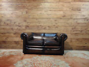 2-seater Chesterfield Sofa Original English Vintage In Brown Leather.