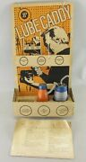 Vtg 1950's 60's Gas Service Station Lube Caddy Oil Display Advertise Sign 2 Cans