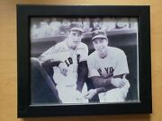 Ted Williams And Joe Dimaggio Signed 8x10 Photo Autograph, Framed.