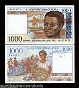 Madagascar 1000 1000 Francs P-76 A 1994 X 100 Pcs Lot Bundle Boat Fish Unc Note