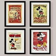 Set Of 4 Picture Print Disney Mickey Mouse Classic Retro Vintage Style