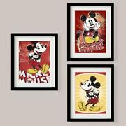 Set Of 3 Picture Print Disney Mickey Mouse Classic Retro Vintage Style