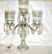 Candleabra With Hanging Tear Drop Prisms Table Lamp - Stunning