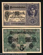 Germany 5 Marks P56 1917 Euro Unc Young Girl Loan Currency Money Bill Bank Note