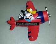 Extremely Rare Walt Disney Mickey Mouse And Pluto Flying In Airplane Statue