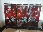 Vintage Asian Screen 1 Side Lacquered/2nd Side Mother Of Pearl Inlay 96x72