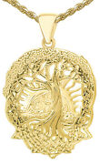 New Menand039s 1 3/8in 10k Or 14k Yellow Gold Tree Of Life Creation Pendant Necklace
