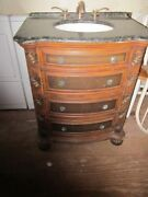 Wood Bathroom Vanity And Marble Top Three Drawers With Faucets Shipping Extra