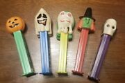 5 Vintage Pez Candy Dispensers Skull Pumpkin Witch Goblin Ghost Halloween 1970and039s