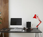 Swing Arm Desk Lamp Interchangeable Base Or Clamp Folding Metal Arm Red Color