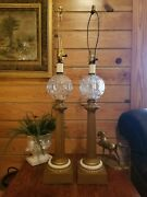 Vintage Tall Gold And Glass Globe Lamps 34 Tall