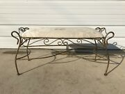 Bench Bed Vintage Vanity Wood Seating Tufted Hollywood Glam Regency French Iron
